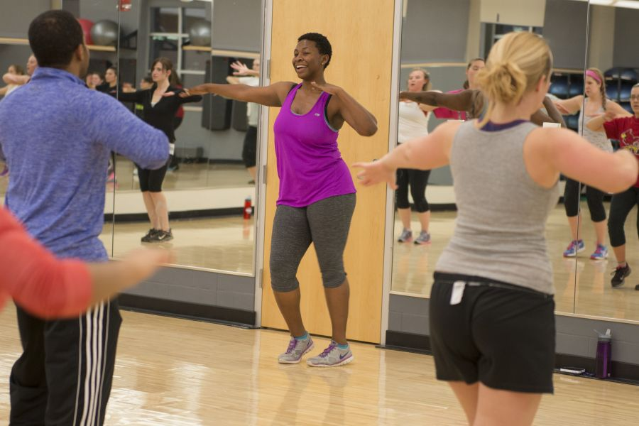 leading a fitness class