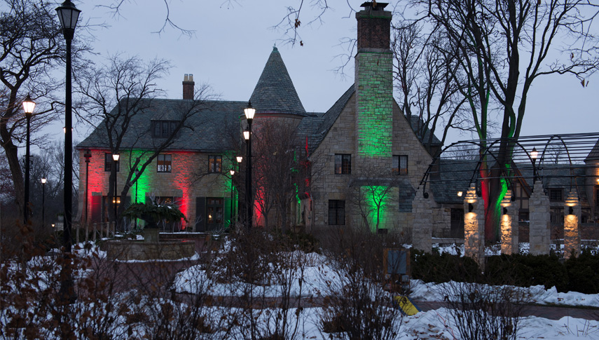 Ewing Manor dressed in its holiday best