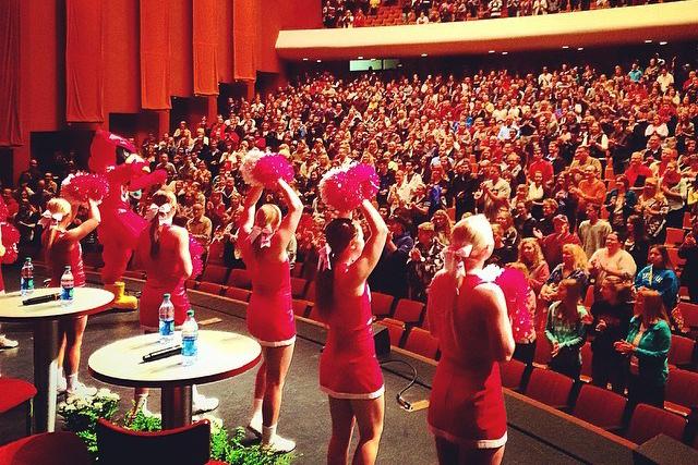 Illinois State cheerleaders greet the crowd