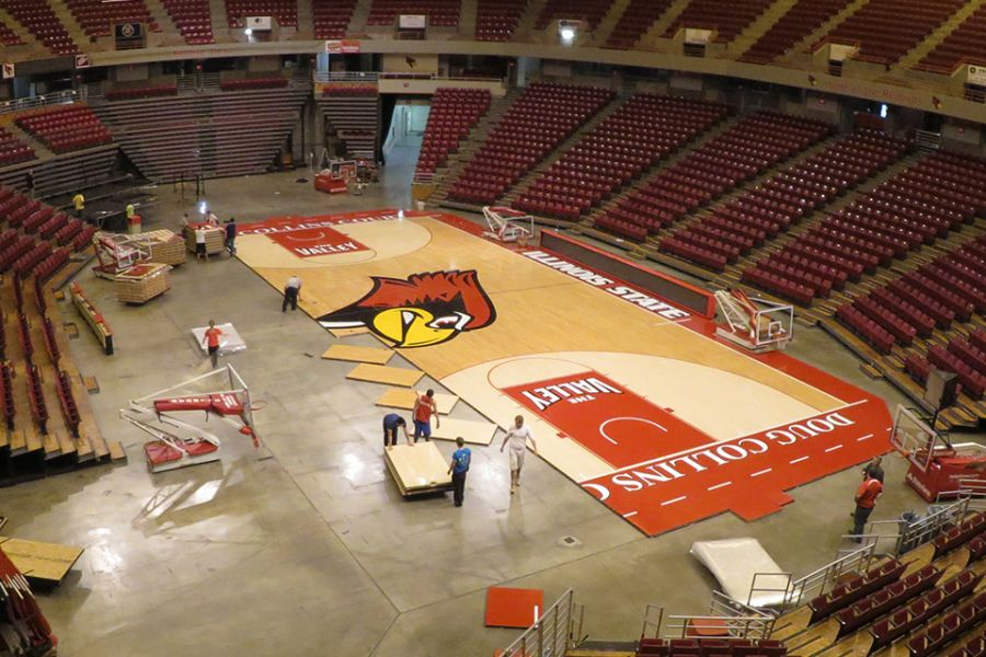 crew re-assembles the basketball court