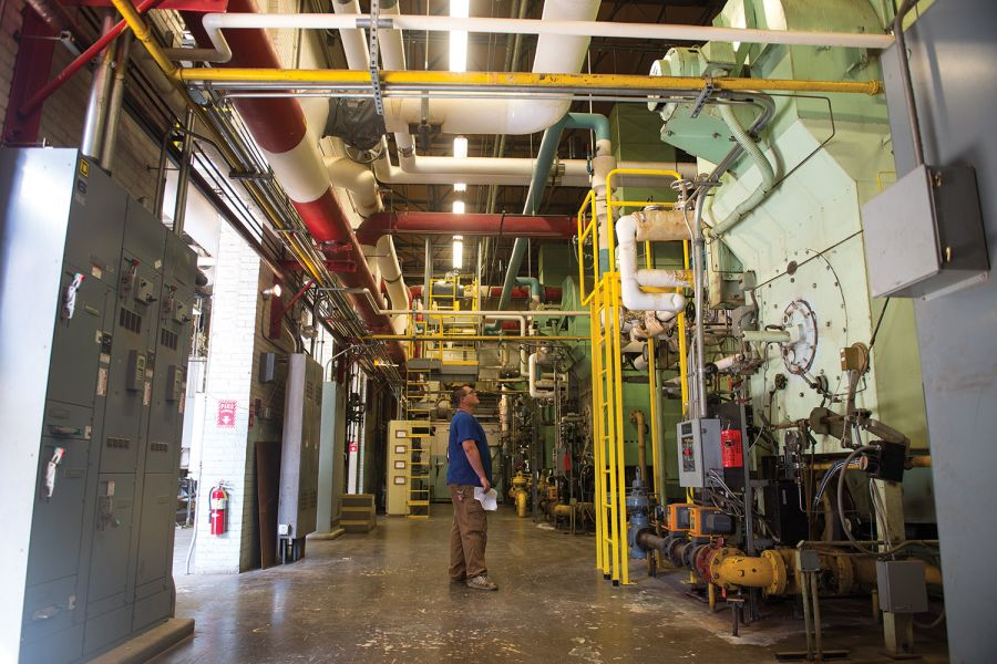 Employee looks at Heating Plant