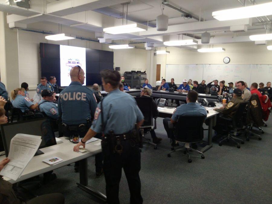 Staffers inside Emergency Operations Center