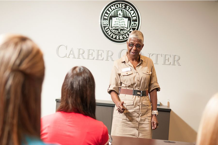 Woman talks inside the Career Center