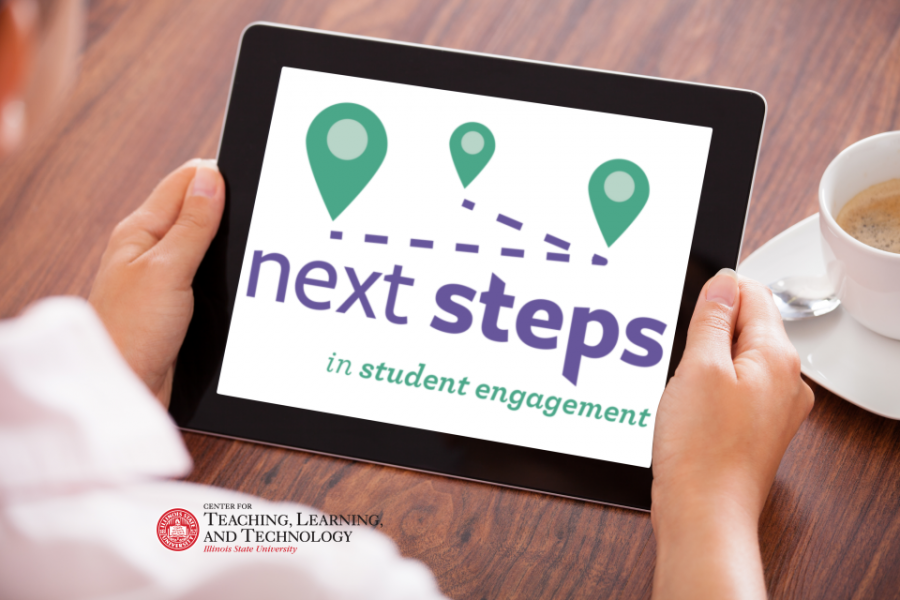 Next Steps in Student Engagement words on tablet screen