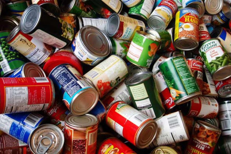 canned foods in a pile