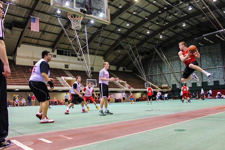 Students play basketball