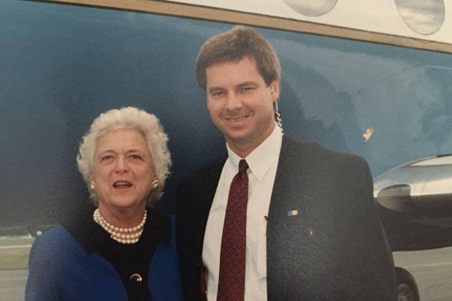 Mark Lowery with former first lady Barbara Bush