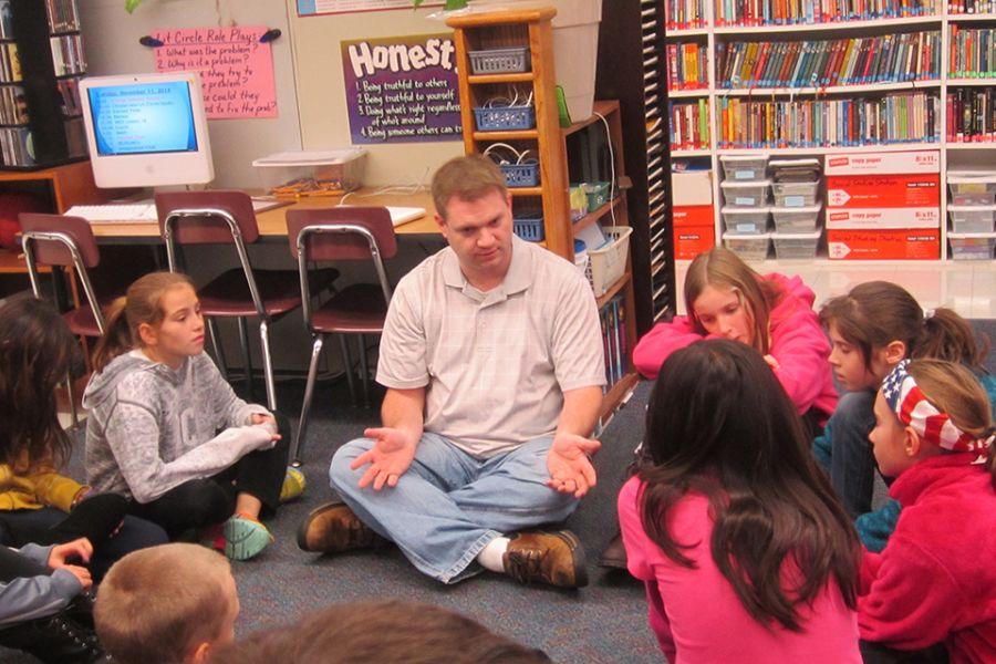 Paul Solarz teaches fifth-graders