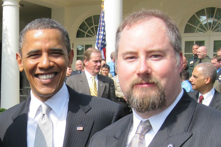 Sean with Obama outside WH