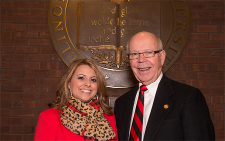 image of Maggie Im and President Emeritus David Strand