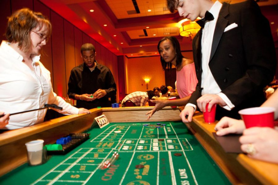 Students at a casino table