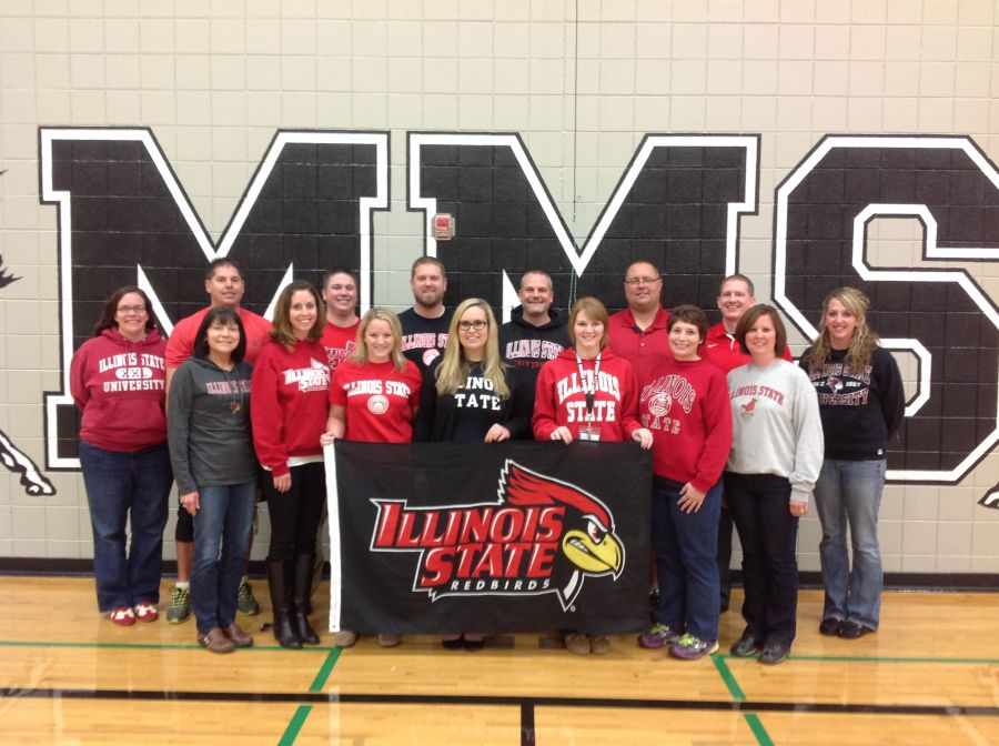 ISU alumni pose at Marlowe school