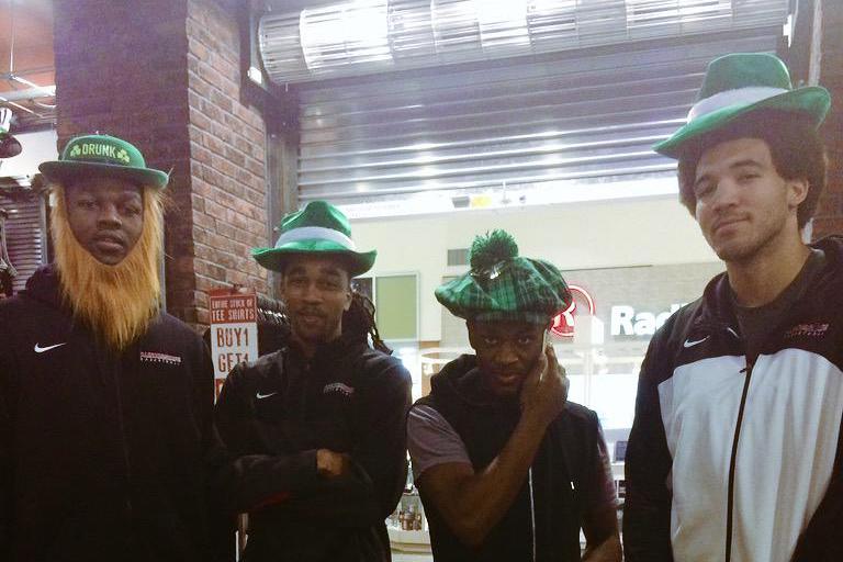ISU basketball players in leprechaun hats