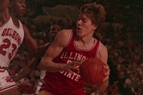 Illinois State men's basketball player with ball