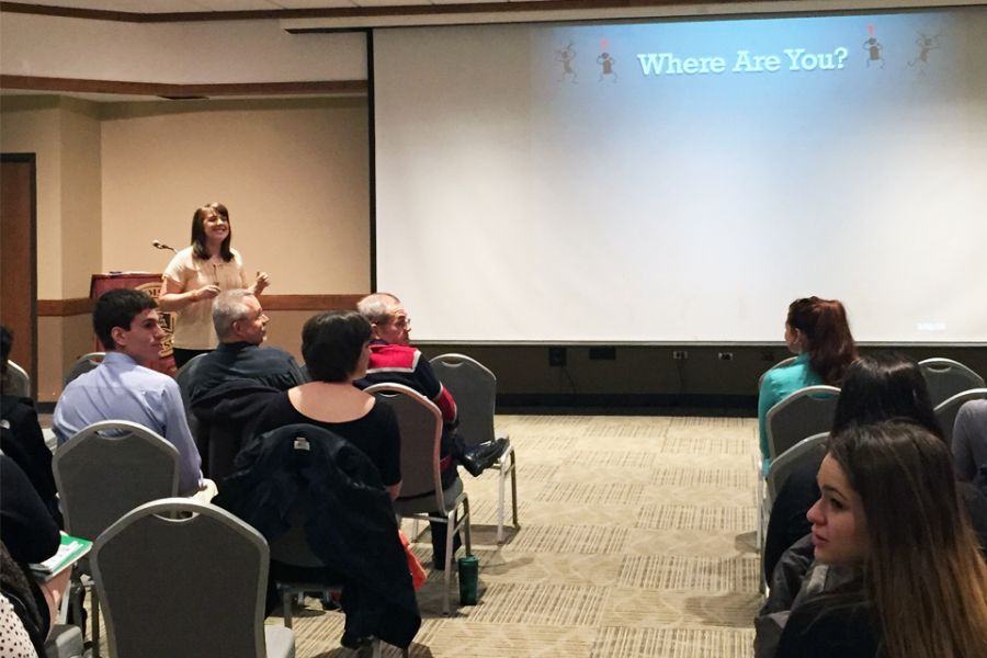 Illinois State University instructional assistant professor Kira Hamann presents at Teaching is a Balancing Act.