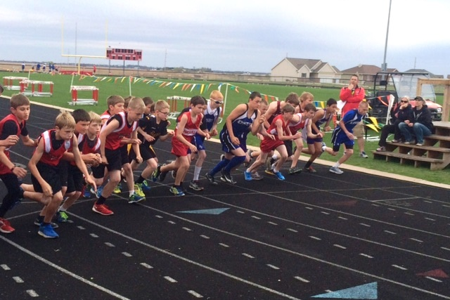Students competing at track meet
