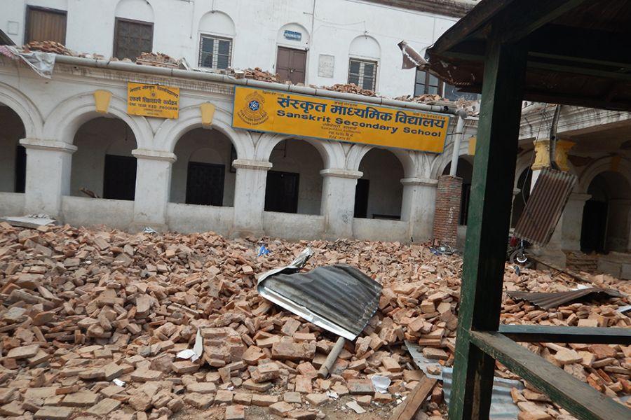 Nepal school in ruins
