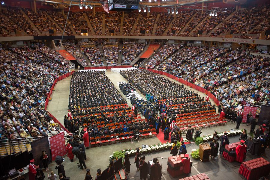 College of Arts and Sciences commencement overhead
