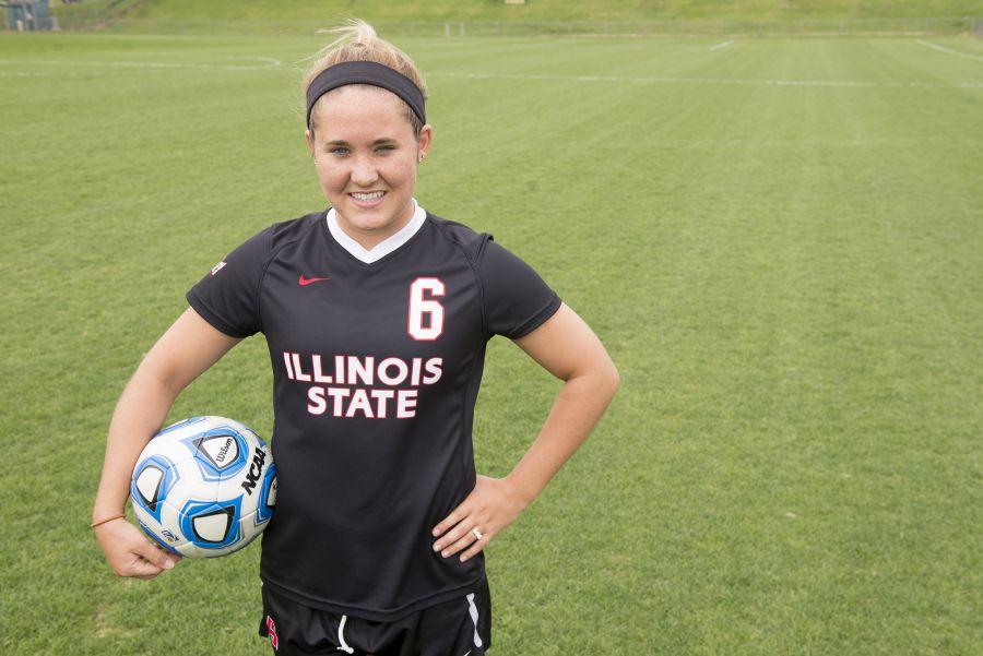 Kelly Miller on a soccer field