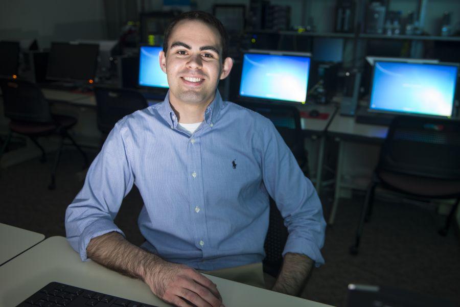 Mike Rinehart in an IT lab