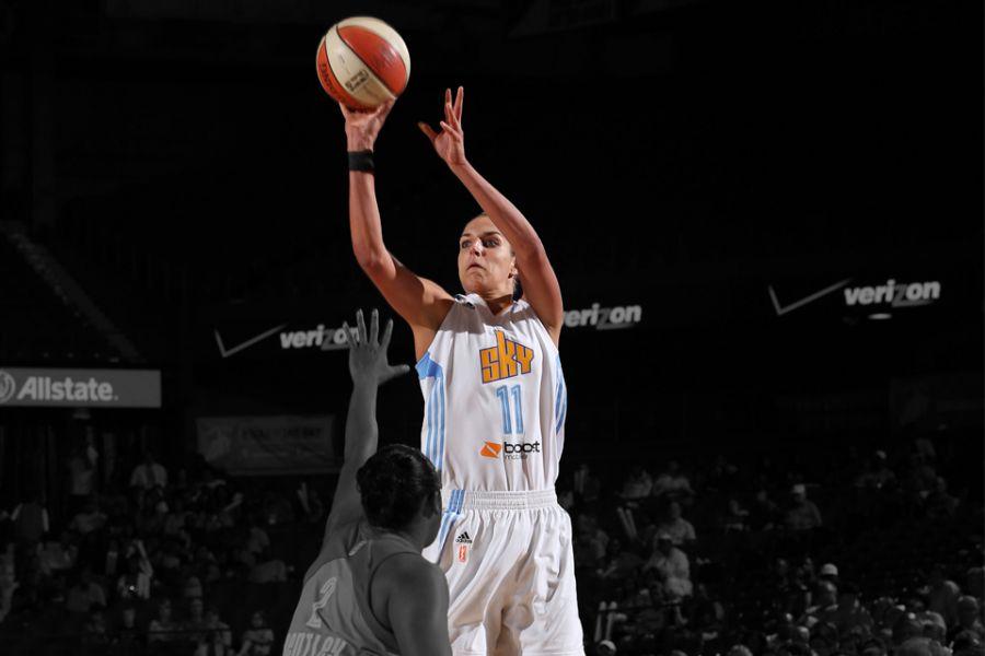 women basketball player shooting ball