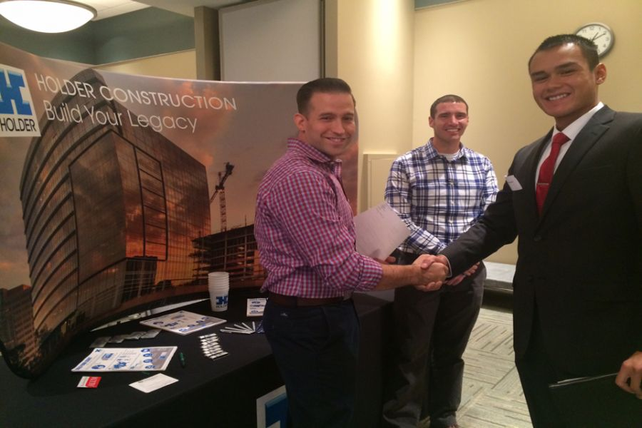 Students at Construction Management Fair in 2014