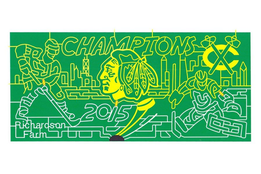Blackhawks corn maze design