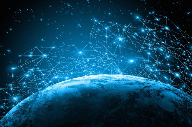 image of potential space internet around earth