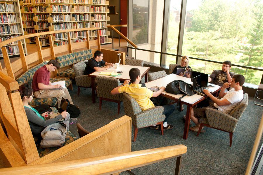 students work inside Milner Library