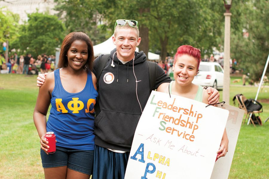 Students in fraternities and sororities pose