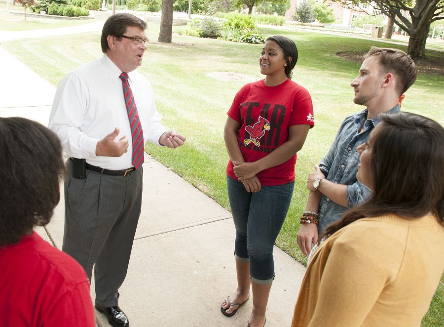 image of President Dietz talked to students on campus.