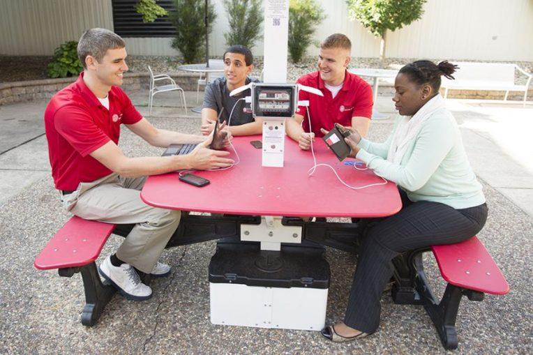 Students at solar picnic table