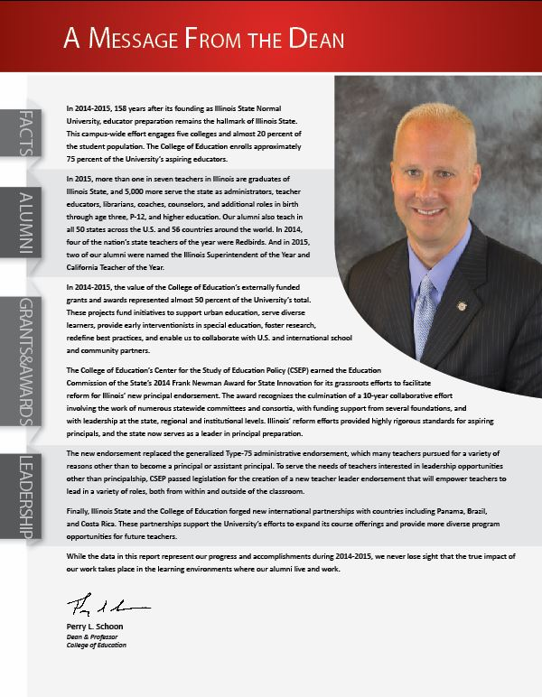 Message from the Dean for the College of Education's 2015 Annual Report