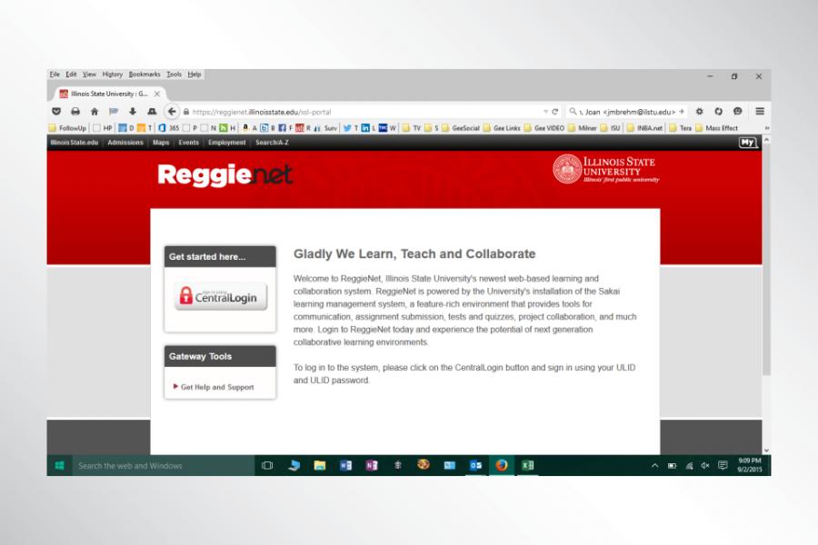 The ReggieNet login page