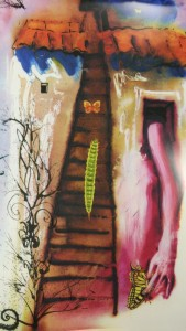 An image inspired by Alice in Wonderland, part of a limited-edition lithograph series by Salvador Dali in folio format, from the Milner Library Special Collections.