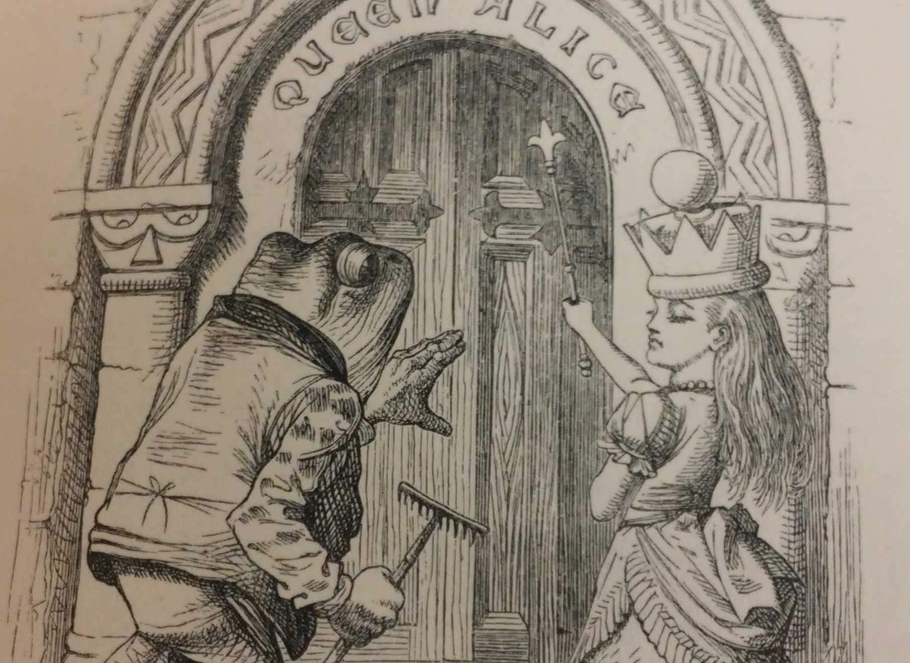 """Queen Alice"" from the first edition of Through the Looking Glass, from the Milner Library Special Collections."