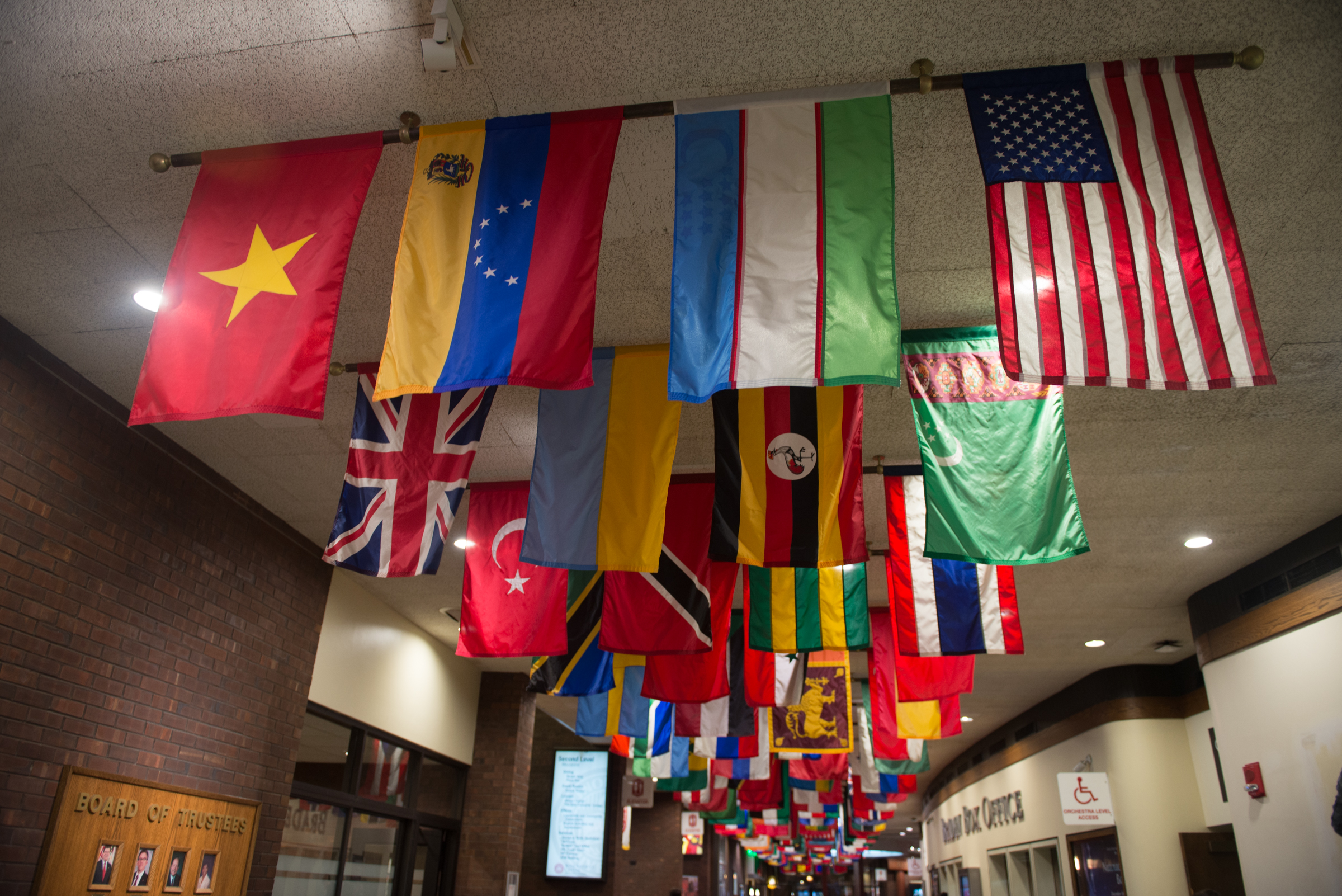 image of flags at Bone STudent Center