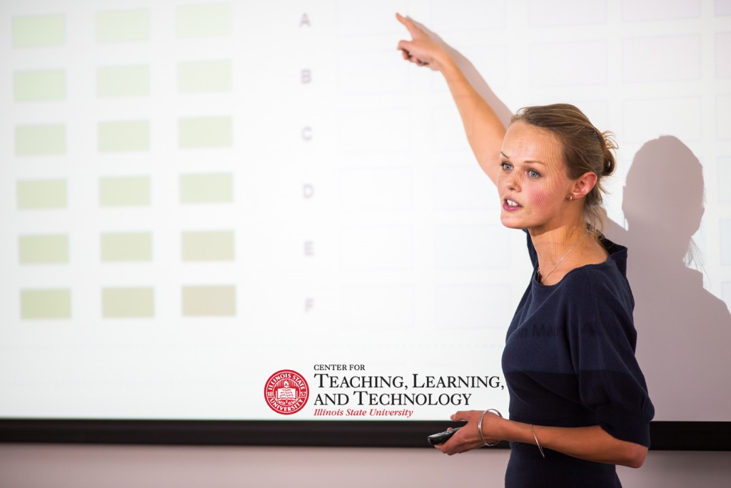 professor pointing to board