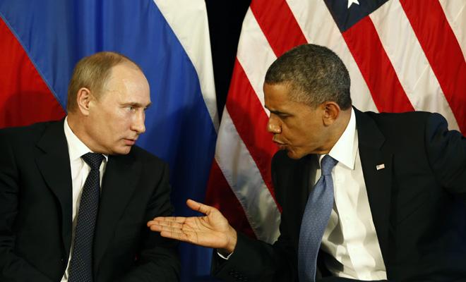 image of Russian President Vladmir Putin and U.S. President Barack Obama.