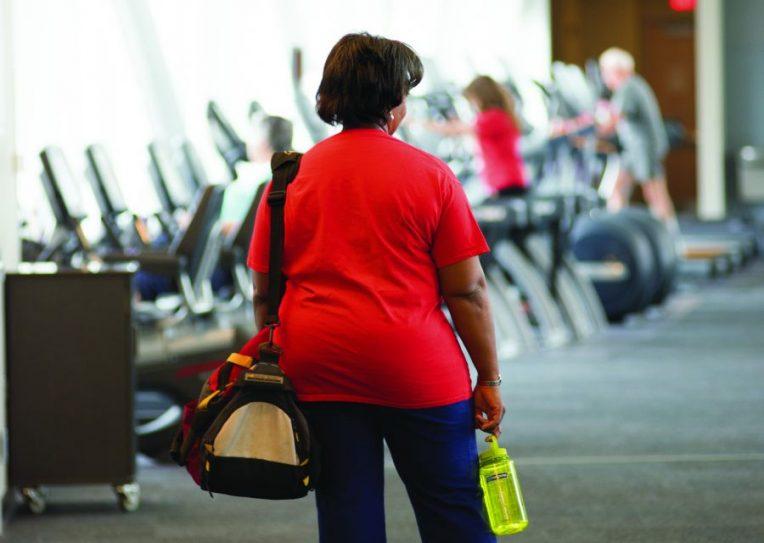 Elaine Hardy in gym
