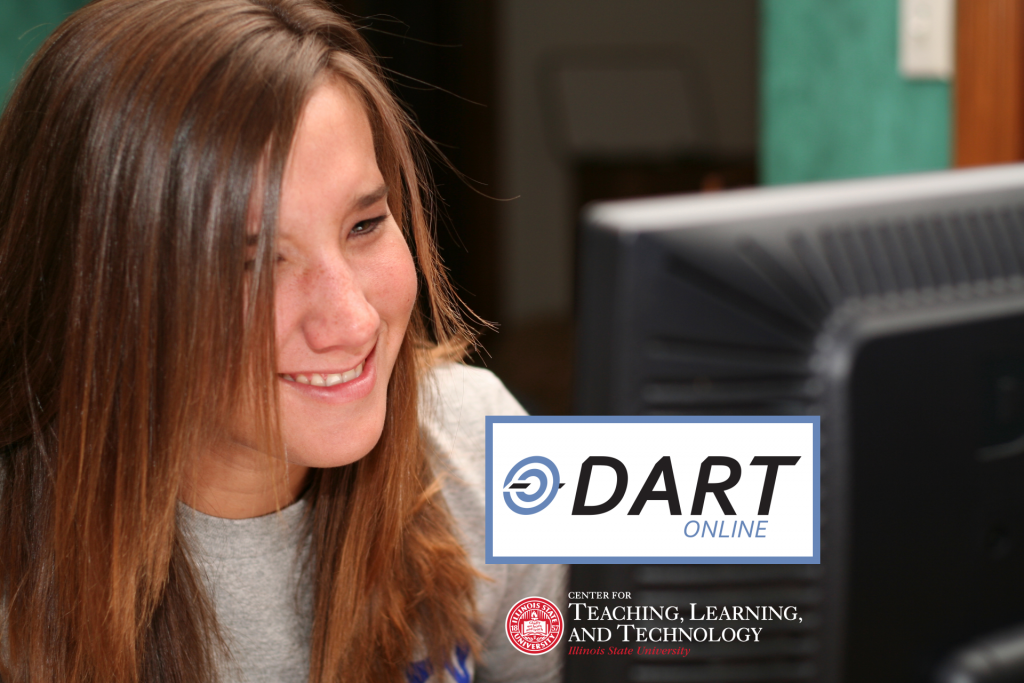 Smiling student taking an online class