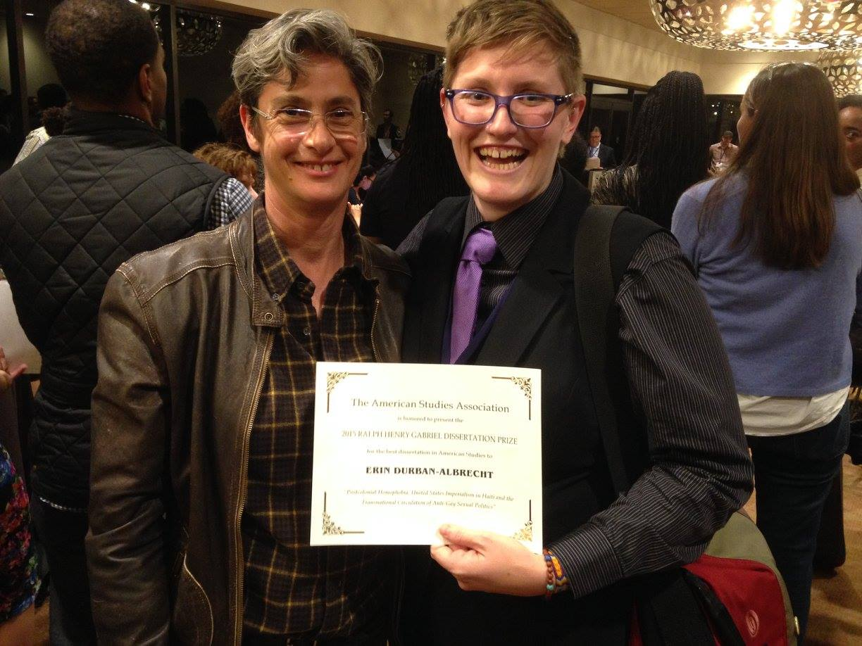 Illinois State Professor Erin Durban-Albrecht (right) at the 2015 American Studies Association Awards Ceremony.