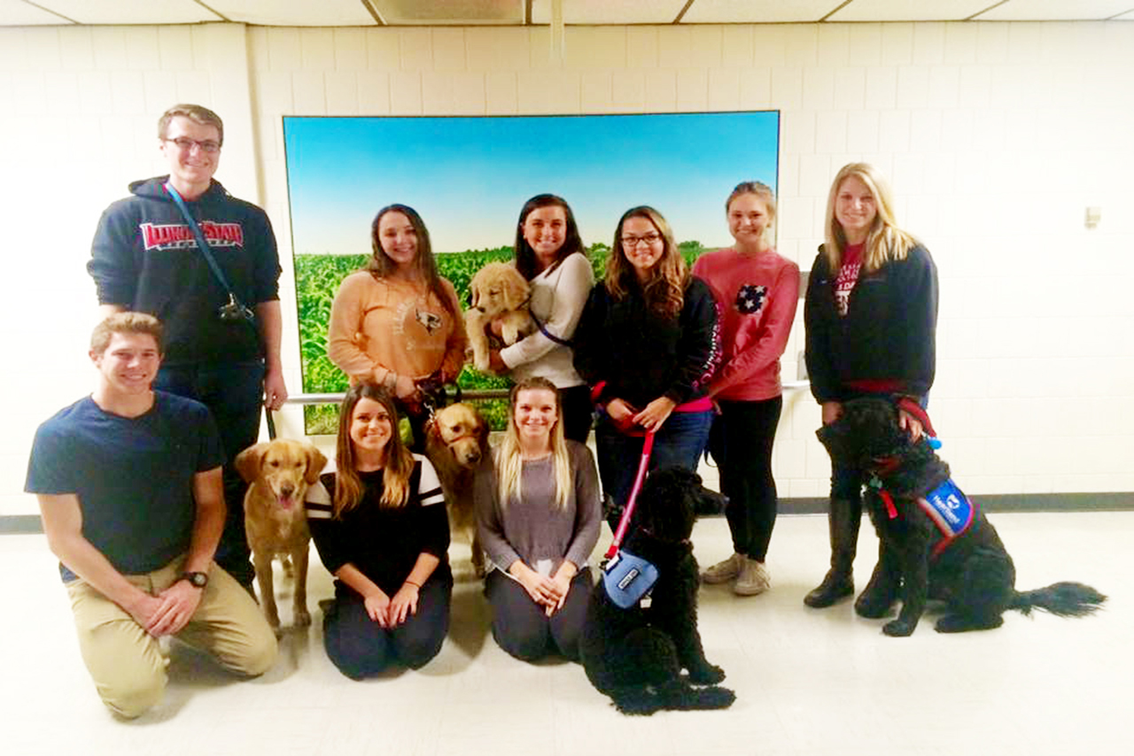 Members and dogs of the Illinois State Service Dog organization