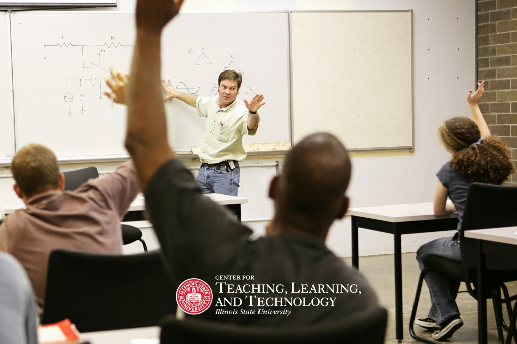 professor at front of class teaching