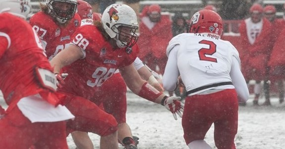 Illinois State redbird football game on a snowy day