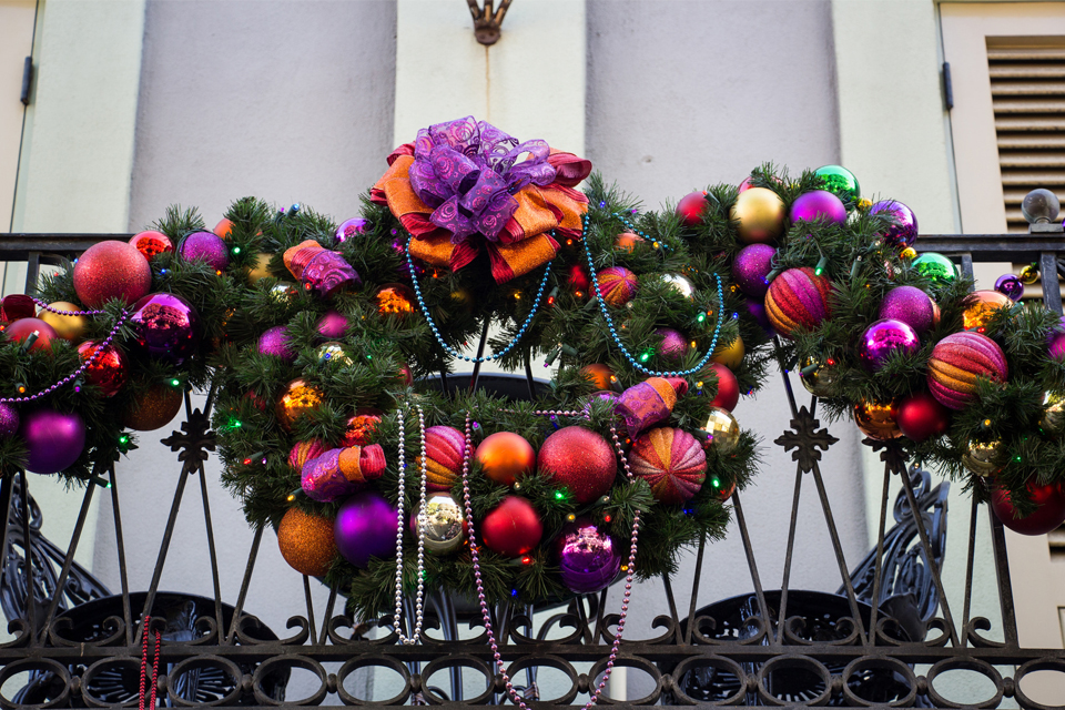 wreath and garland with ornaments