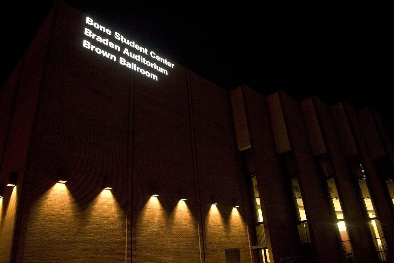 Bone Student Center at night
