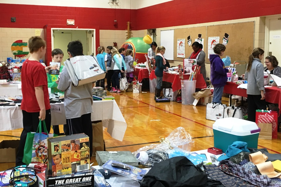 Students shopping for gifts