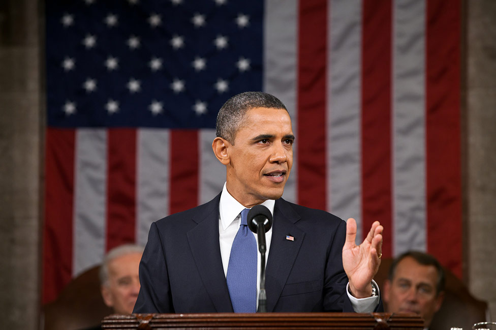 Image of President Barack Obama at the State of the Union address.