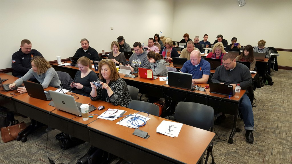 workshop attendees on laptops